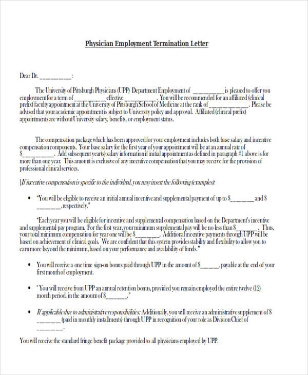 physician employment termination letter