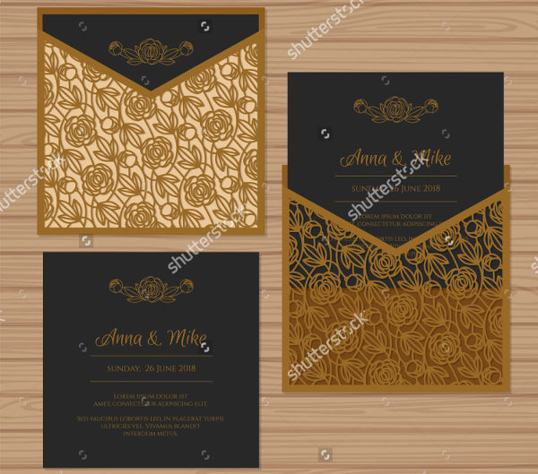 pocket wedding card invitation