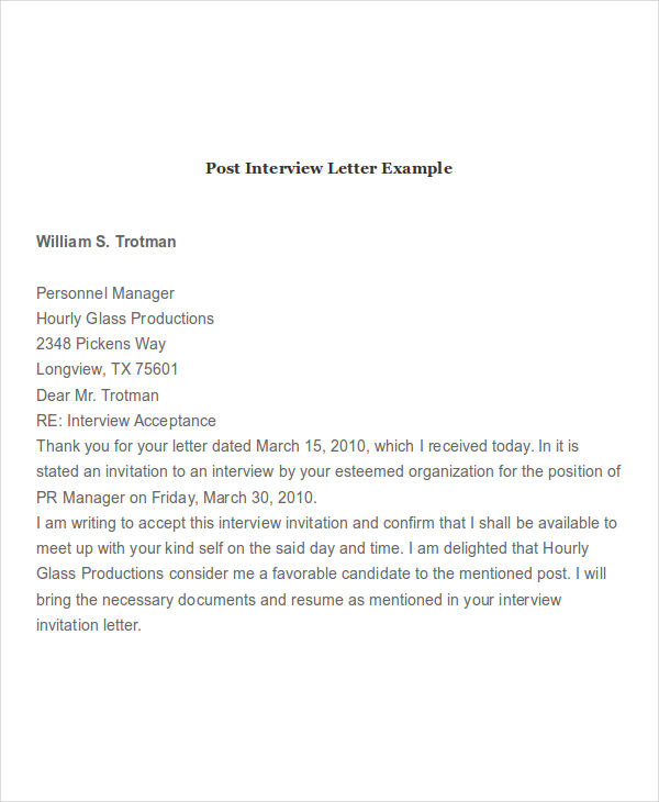 post interview letter example