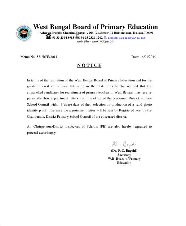 primary teacher appointment letter