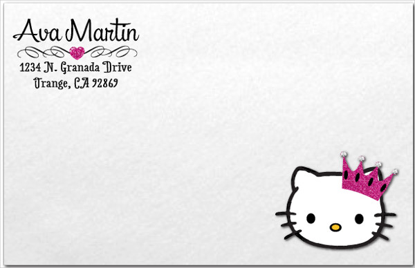 princess hello kitty invitation envelope