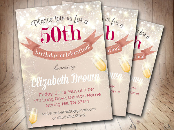 printable 50th birthday invitation