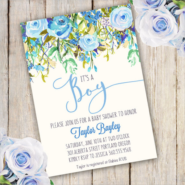 printable boy baby shower invitation