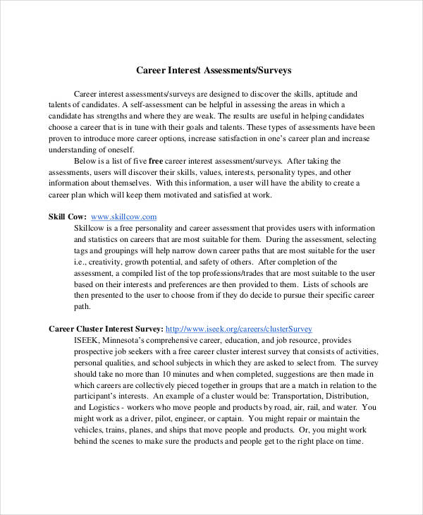 printable career interest assessment