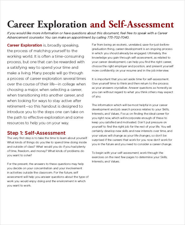 printable career self assessment