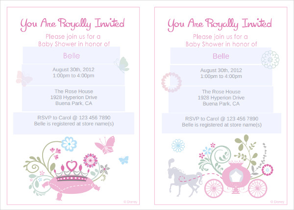 printable princess baby shower invitation