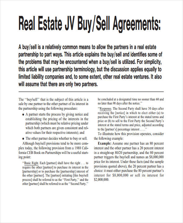 printable real estate partnership agreement