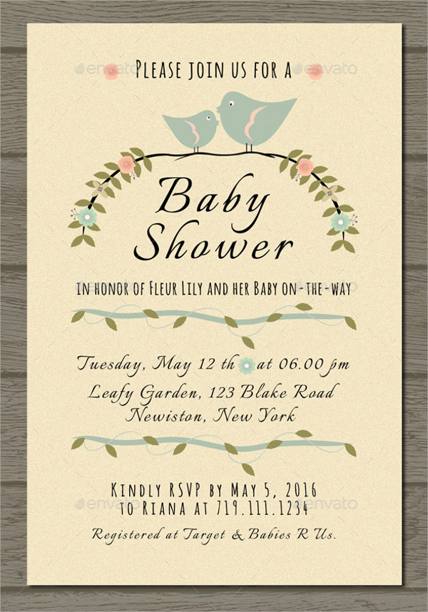 Printable rustic Baby Shower Invitation