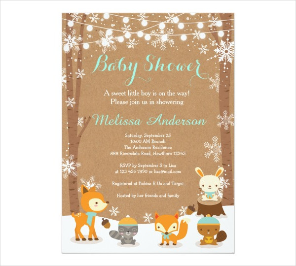 printable winter baby shower invitation