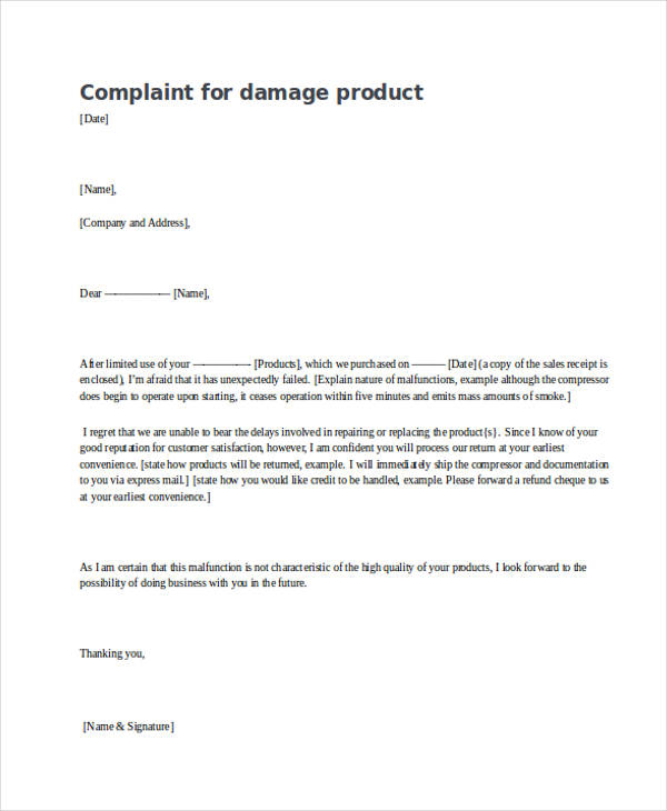 complaint letter samples product damage complaint letter