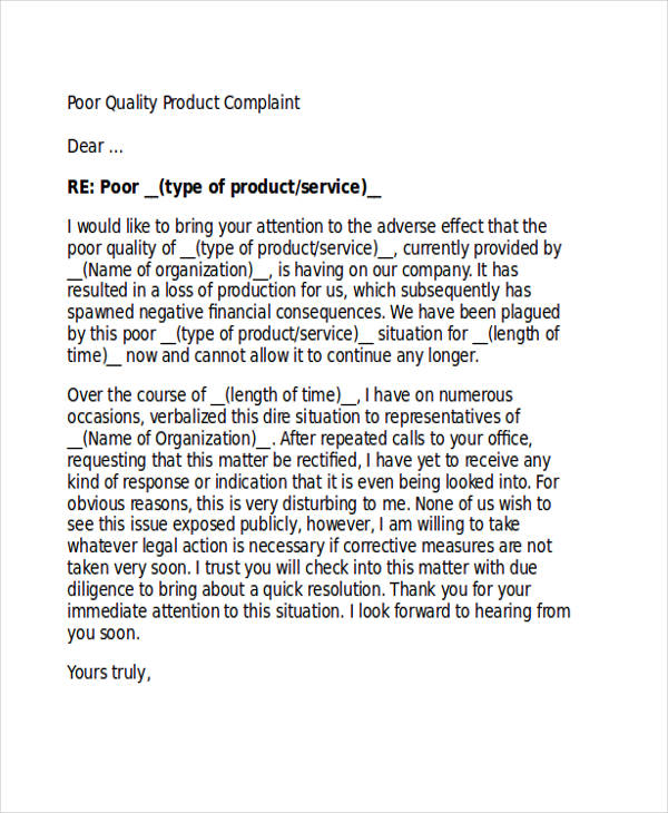 30 complaint letter examples samples pdf doc product quality complaint letter spiritdancerdesigns Image collections
