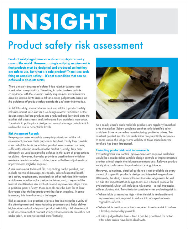 Product Safety Risk Assessment