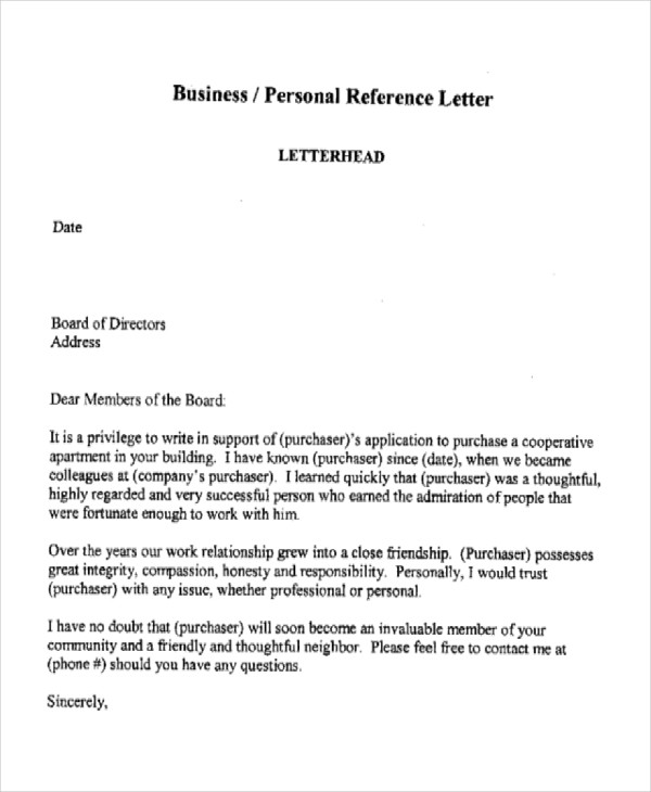 professional business reference letter