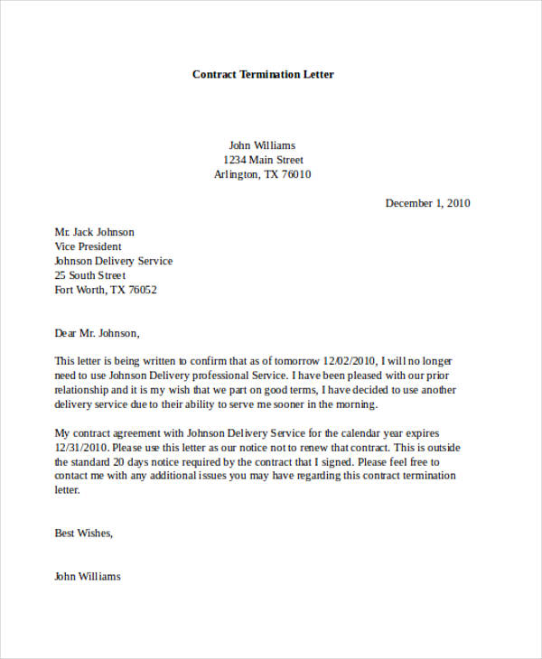 professional contract termination letter