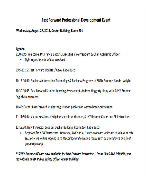 professional development event agenda