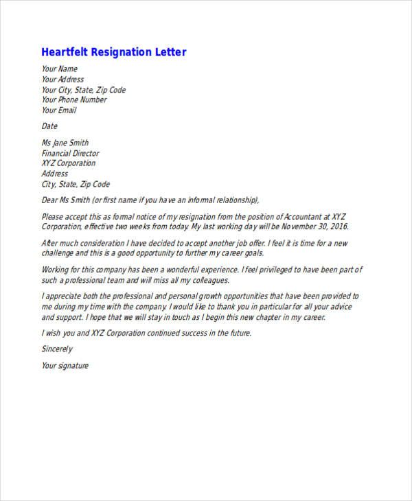 heartfelt letters of resignation