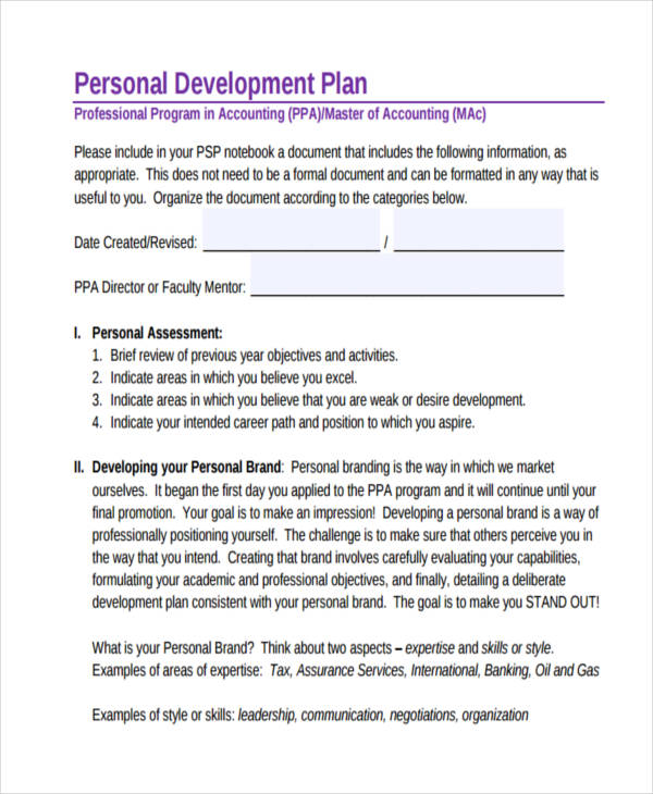 Professional Personal Development Plan  Personal Development Portfolio Example