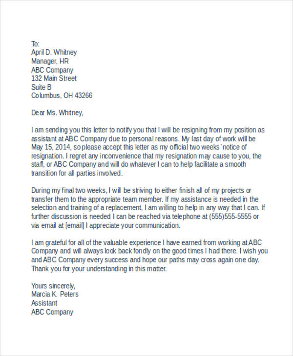 professional resignation letter with reason