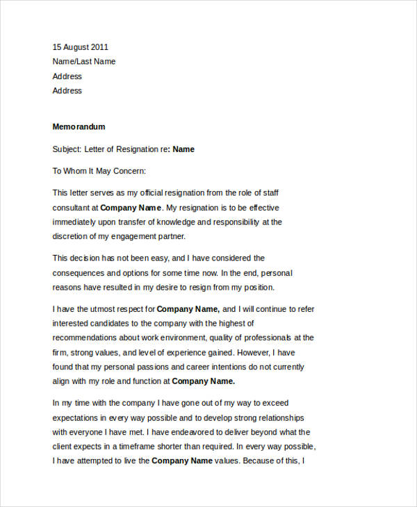 49 resignation letter examples professional resignation letter with regret expocarfo Image collections