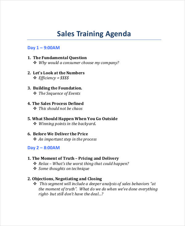 professional sales training agenda