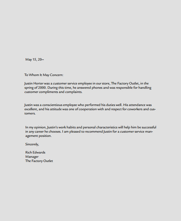 professional service business reference letter