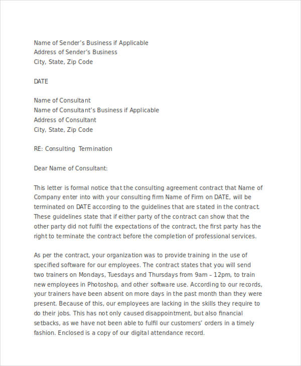 professional services termination letter
