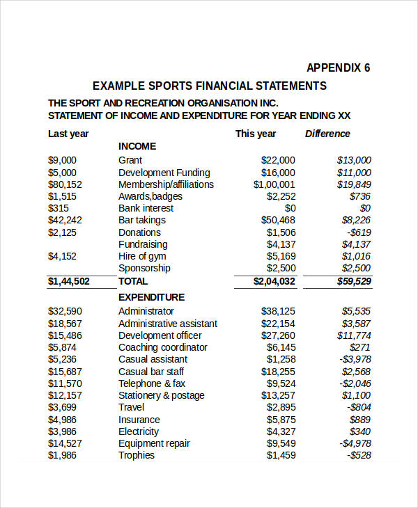 professional sports financial statement