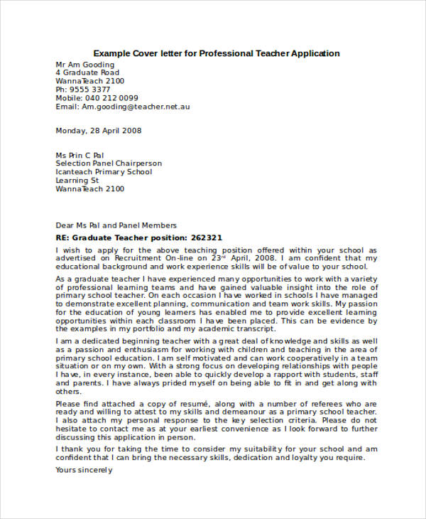 Professional Teacher Application Letter