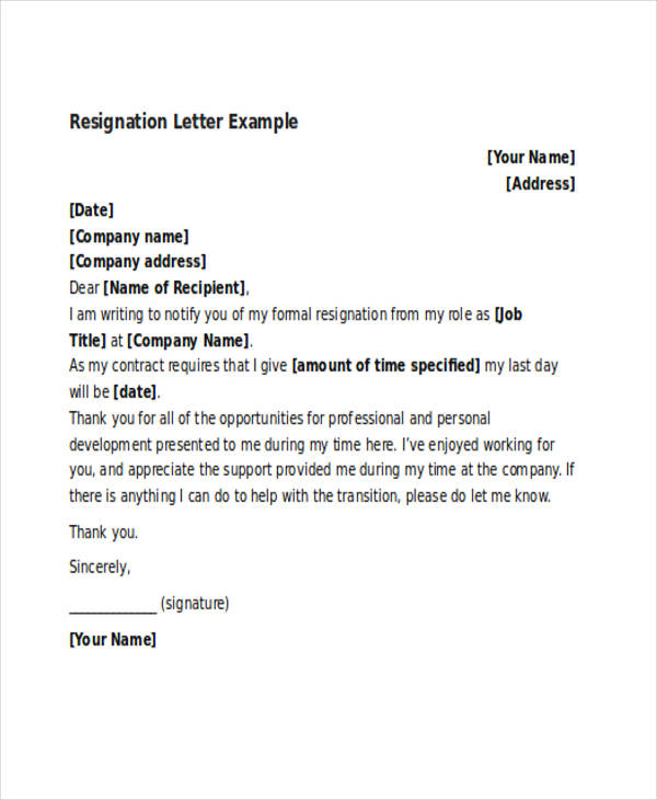 professional thank you resignation letter