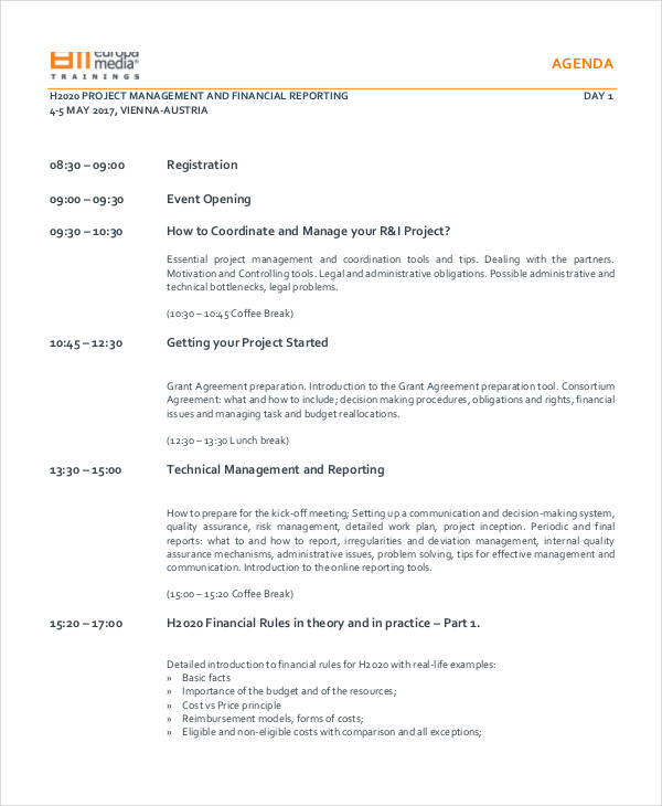 project management training agenda