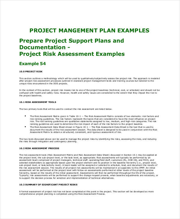 project risk assessment plan