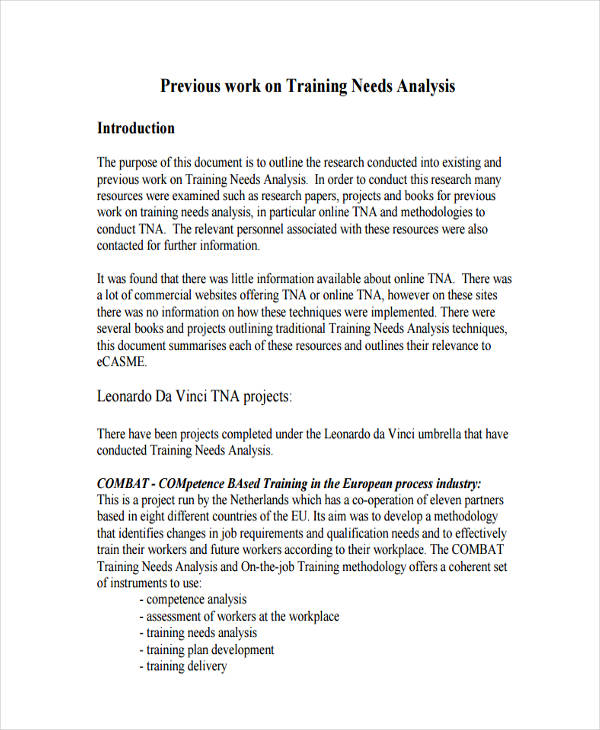 project training needs analysis