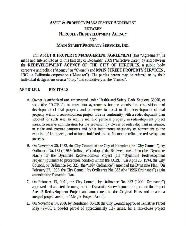 property asset management agreement
