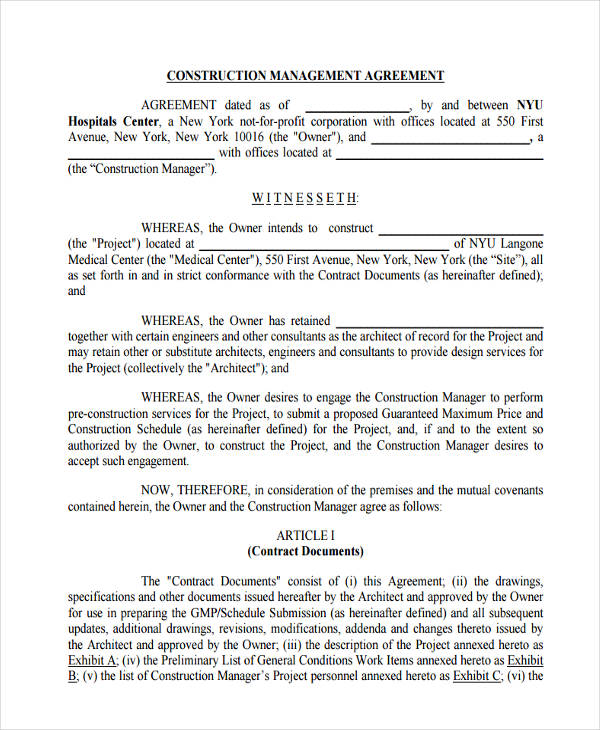 proposed construction management agreement
