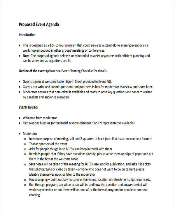 proposed event agenda in pdf