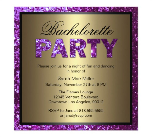 purple bachelorette party invitation