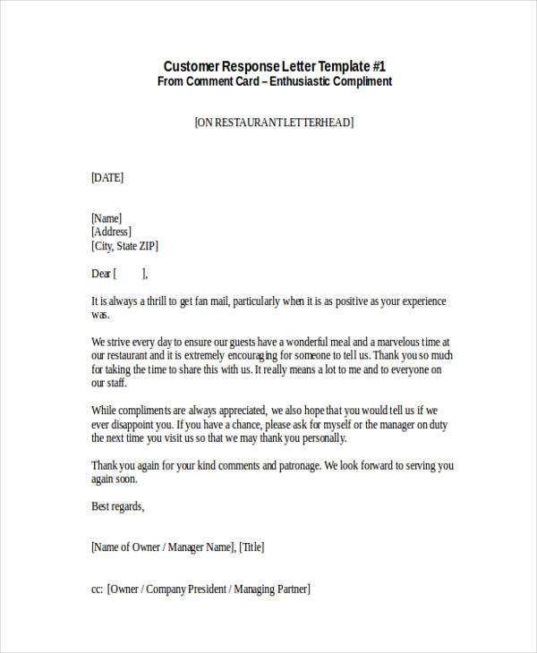 Customer Complaint Response Letter » Best Letter Of Complaint