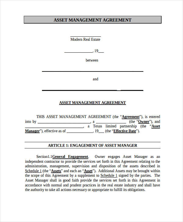 real estate asset management agreement