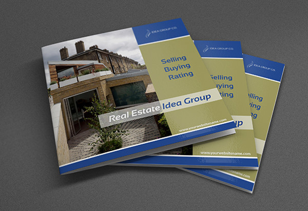 real estate bi fold square brochure