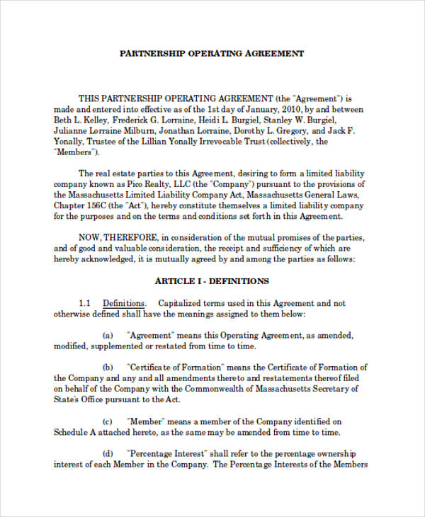 real estate partnership agreement template