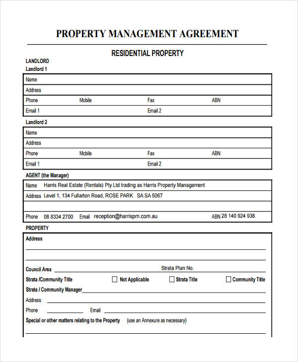 real estate property management agreement