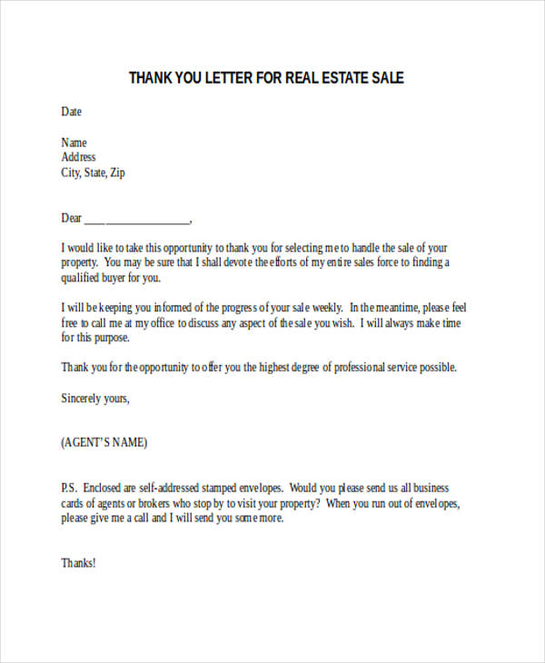 real estate sale thank you letter