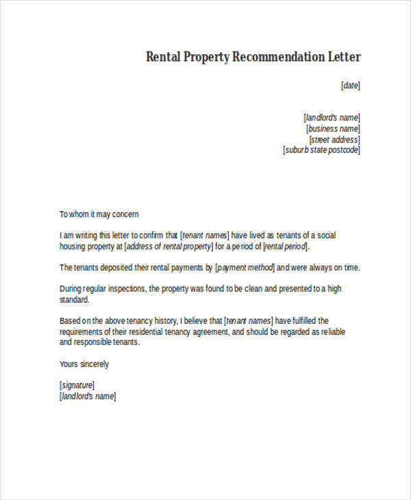 rental property recommendation letter
