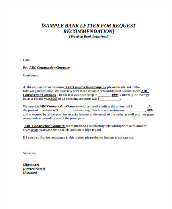 request for bank recommendation letter