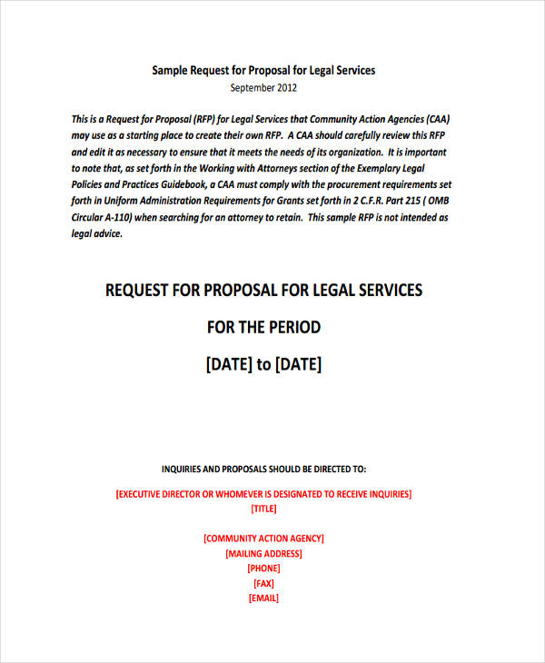 request for proposal for legal services