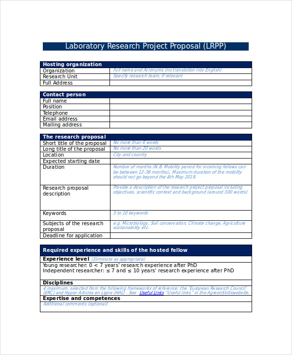 Laboratory Research Project Proposal