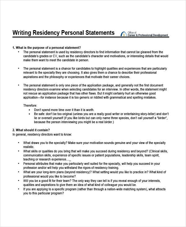 free 8  personal statement examples  u0026 samples in pdf