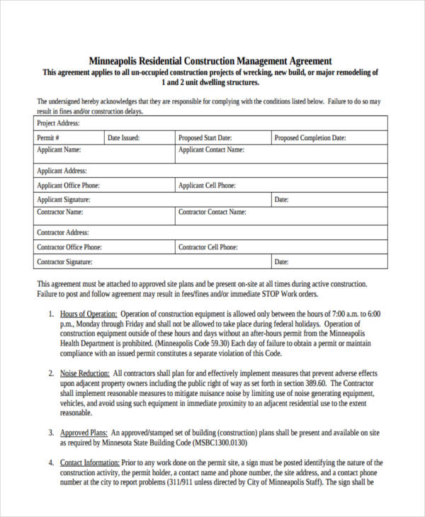 residential construction management agreement