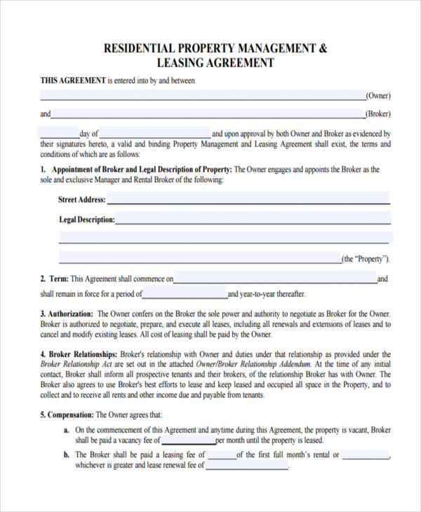 residential lease management agreement
