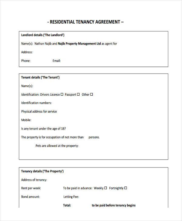residential tenancy management agreement